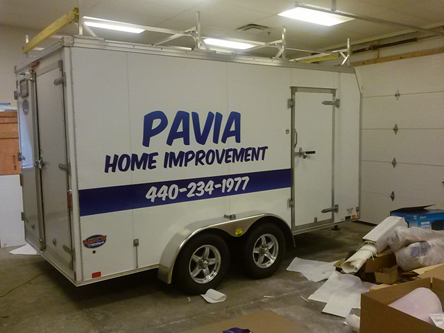 How is vehicle vinyl lettering installed on trailers