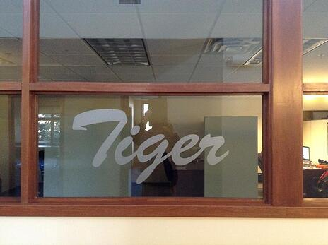 Etched vinyl window graphics Cleveland